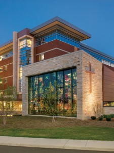 The hospital has focused on art and nature to encourage a stress-free environment for patients. Notable artwork in the hospital includes a stained glass wall in the hospital's chapel.