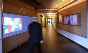Donor recognition installation at UCSF Medical Center incorporates multiple digital components.