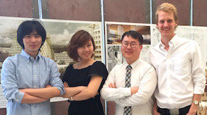 Winning students, left to right, Fang, Luo, Cho and Tiedman.